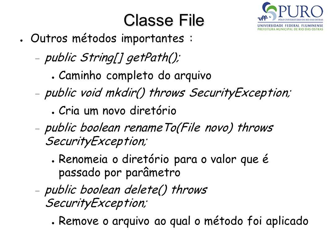 Classe File Outros métodos importantes : public String[] getPath();